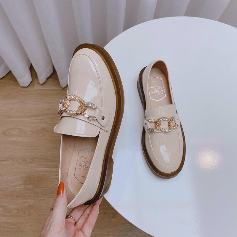 [Kèm ảnh thật] Giày docter nữ cao cấp da bóng phối Lắc đá gota cao 3p cực đẹp