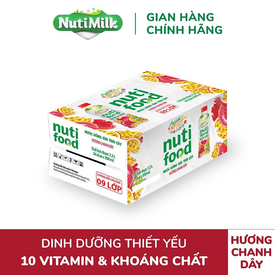 Thùng 24 chai Nước uống sữa trái cây NutiFood hương Chanh dây chai 300ml