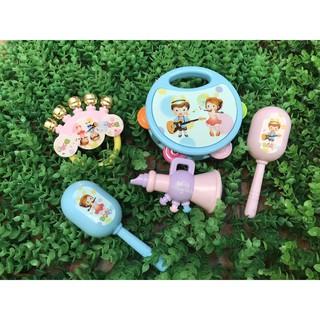 Bộ 5 món đồ chơi lắc tay, kèn, xúc xắc, 2 trống cho bé
