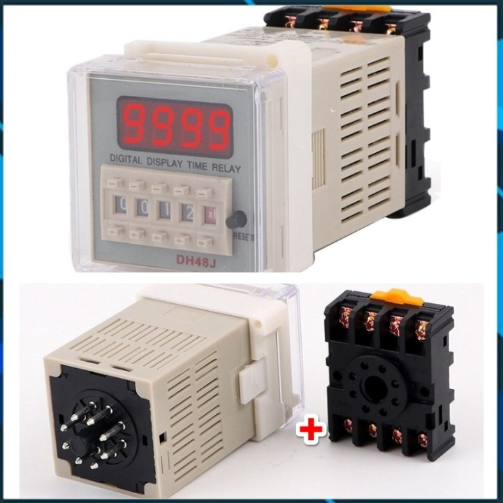 Counter DH48J-11, DH48J-8 Bộ đếm số tự động giá rẻ tặng kèm chân đế PF113A, PF083A