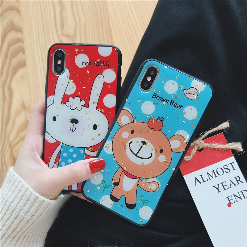 iPhone XS MAX XS XR X 6 6S 7 8 PLUS rabbit & bear lovely soft case