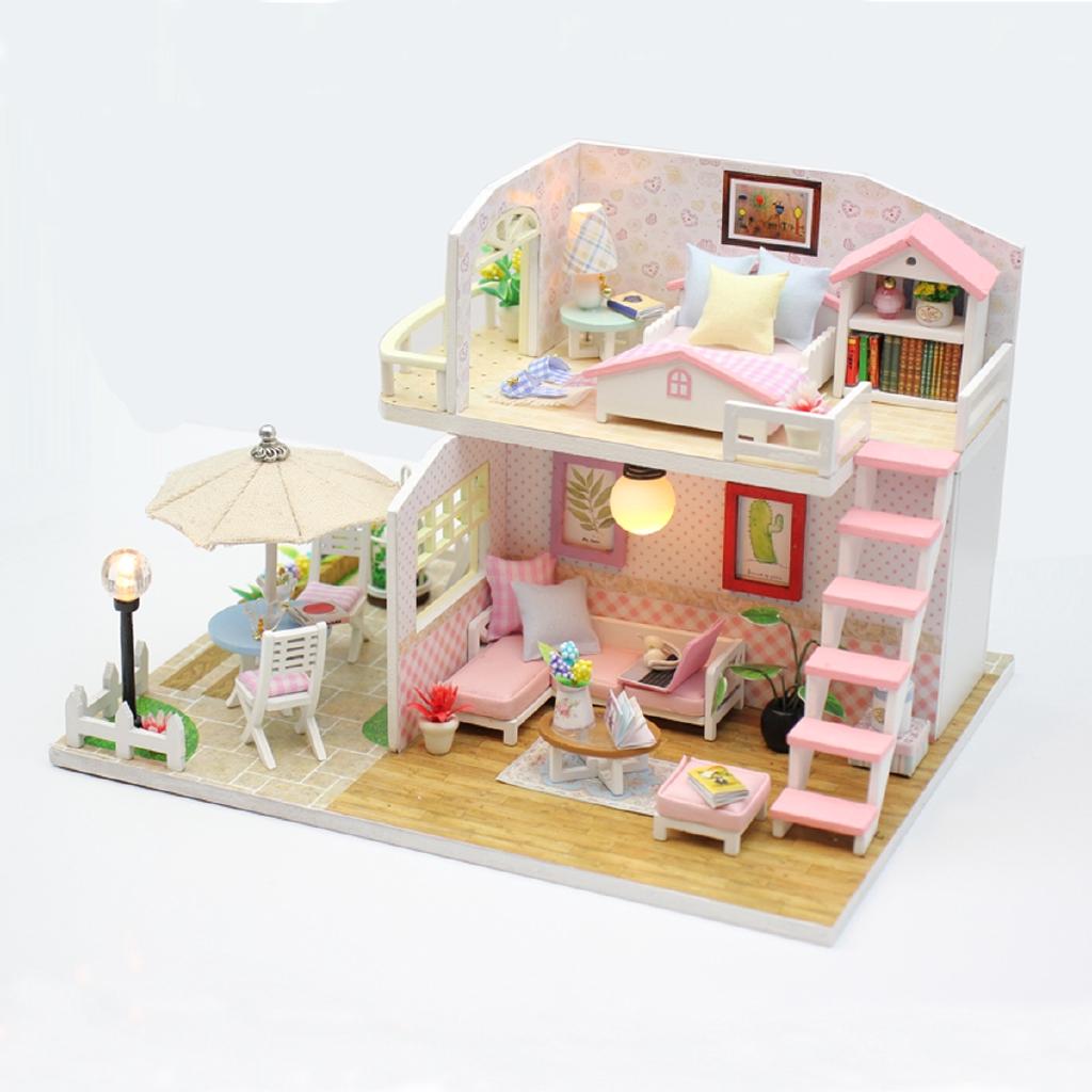 Mô hình đồ chơi 3D lắp ráp gỗ vật dụng trang trí gác xép màu hồng M033 có đèn