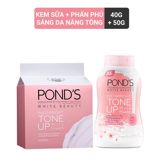 Combo Kem sữa dưỡng trắng nâng tông Pond's White Beauty 50g và Phấn phủ nâng tông Pond's White Beaut