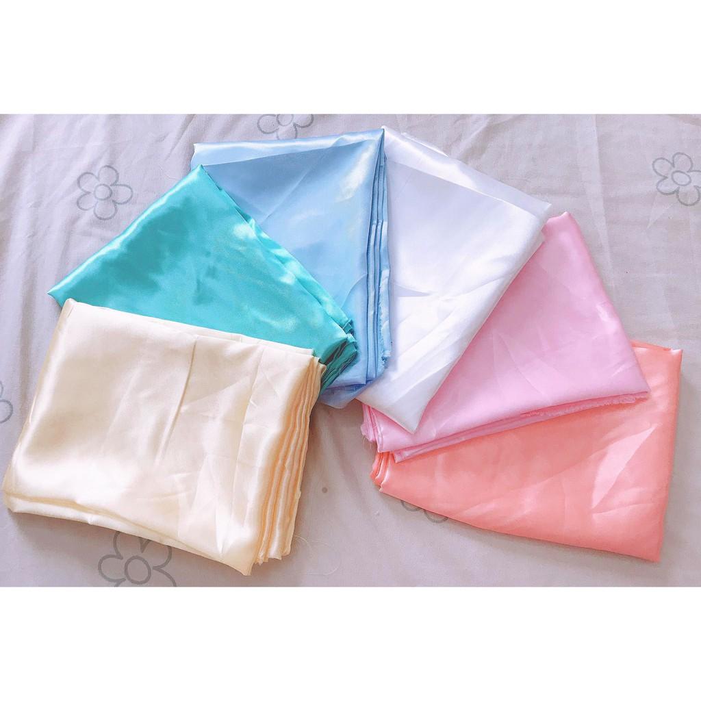 Vải phi bóng trắng / vàng / xanh da trời / hồng cam loại mềm khổ 1m5