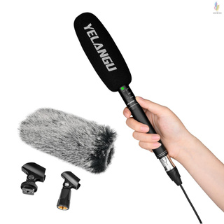 YELANGU MIC07 Professional Interview Microphone Long Distance Cardioid Pickup Low-cut Function 3.5mm Plug with Windscreen Audio Cable Mic Clamp 6.35mm