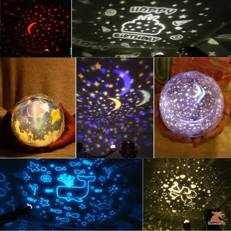 Bộ Đèn Chiếu 360 Độ Hình Bầu Trời Đầy Sao Kèm 5 Phụ Kiện