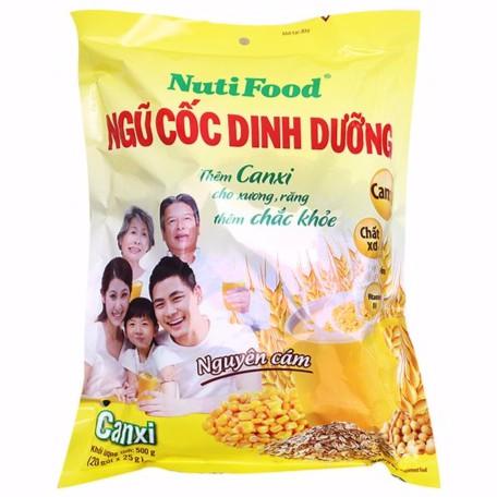 Bột ngũ cốc nguyên cám canxi Nutifood 500g (20 gói), tặng cốc trái banh