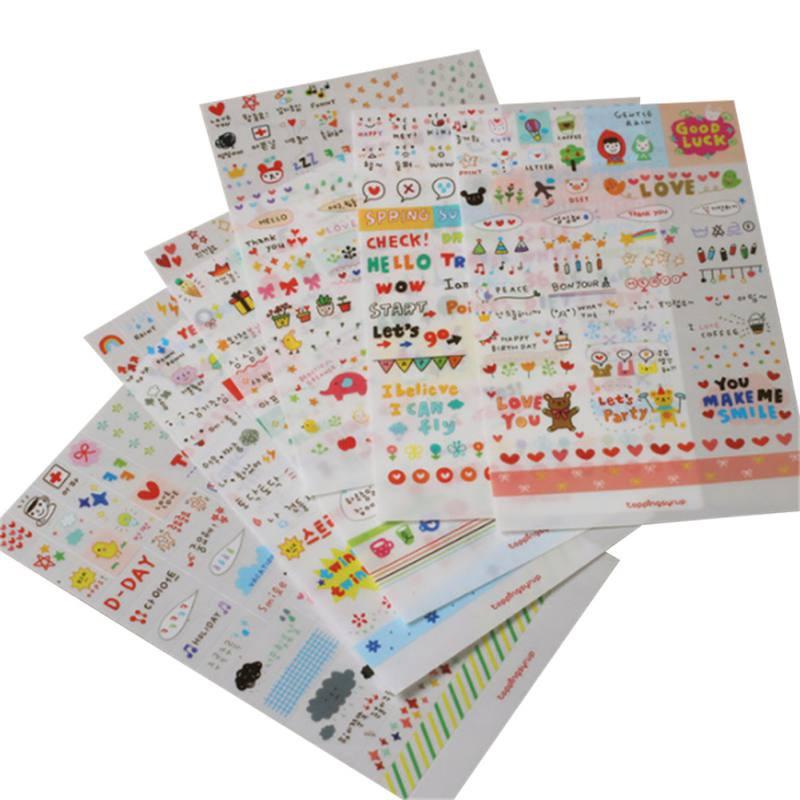 6 Sheets Cute Pet DIY Cartoon Children Stickers Toys PVC Scrapbook Gifts for Kids