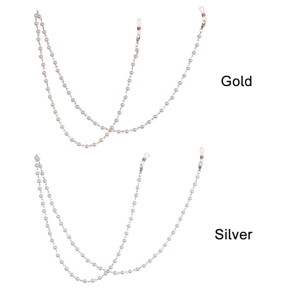 MIHAN1 Sweet Women Metal Reading Glasses Simulated-Pearl Beads Glasses Chain