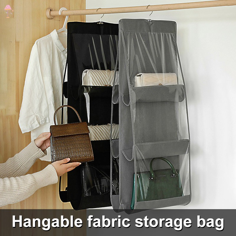 LL Hanging Handbag Organizer Dust-Proof Holder Bag Wardrobe Closet for Purse with 6 Larger Pockets @VN