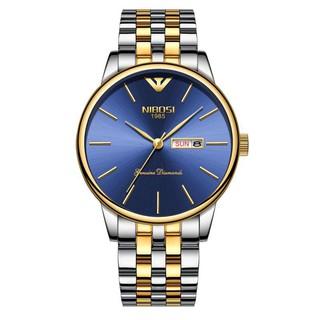 Đồng hồ nam NIBOSI 2332 dây thép đúc mặt kính tráng shapphire lịch ngày cao cấp