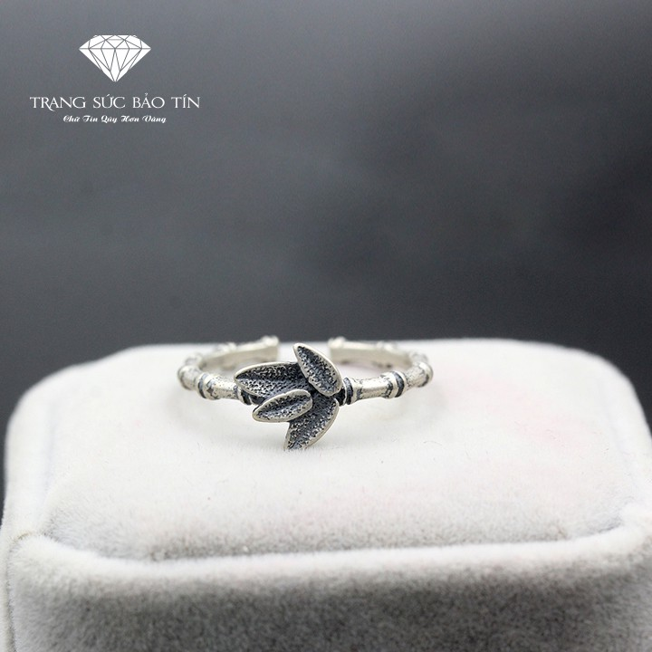 Nhẫn Nữ, Nhẫn Nữ Trúc Lá Chất Liệu Bạc Ý Cao Cấp - Thương Hiệu Bảo Tín
