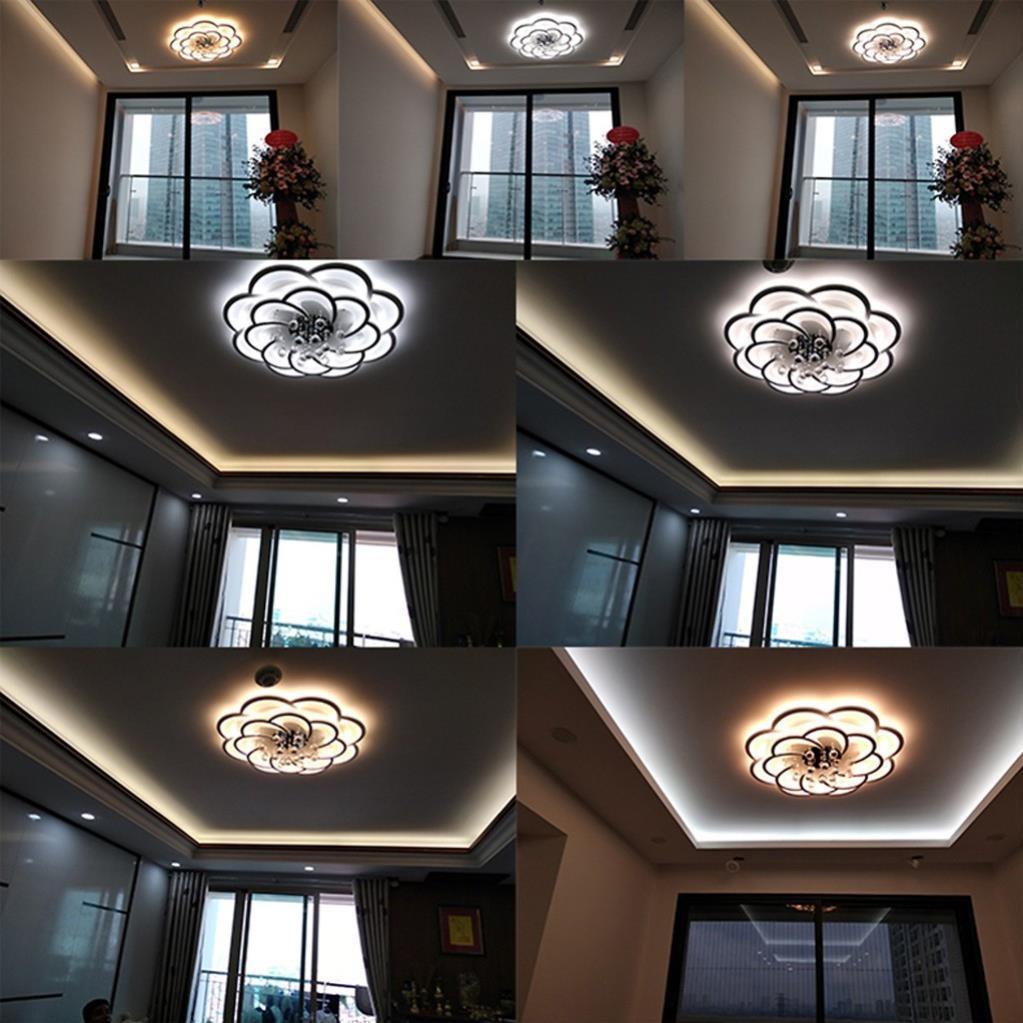 Đèn chùm pha lê MONSKY đèn mâm ốp trần trang trí EKKO 16 cánh sang trọng 3 chế độ ánh sáng có điều khiển từ xa tiện dụng