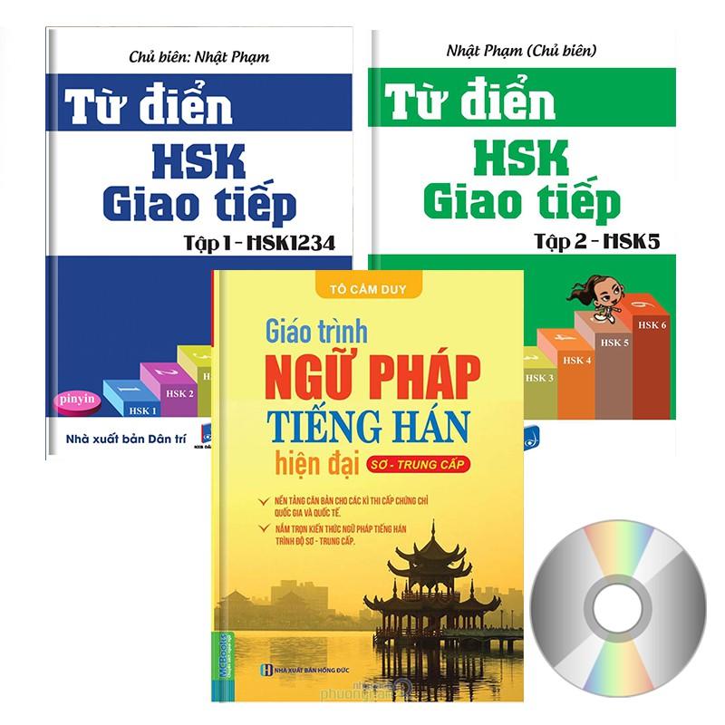 SÁCH - Combo 3 sách: Từ Điển Giao Tiếp HSK1234 + HSK5 + Giáo trình ngữ pháp tiếng Hán hiện đại Sơ T