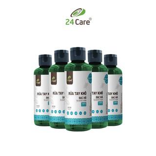 Bộ 10 Nước rửa tay khô tinh dầu Bạc Hà 24Care 100ML diệt khuẩn 99,9%