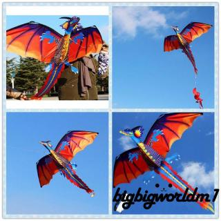 ❤XZQ-Family Outdoor Sports Toy Children Kids NEW 3D Chinese Dragon Stereo Kite Wind Spinner Single Line With Tail