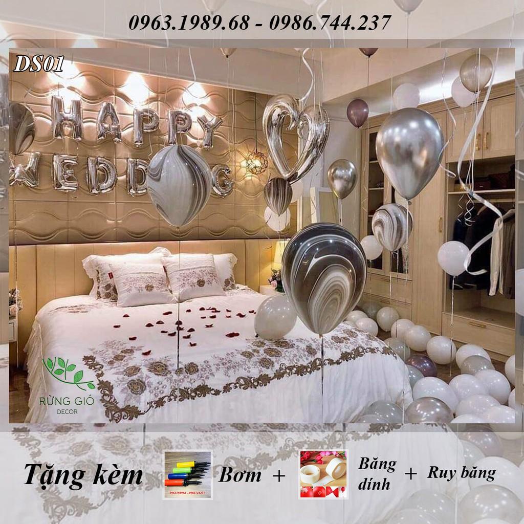FREESHIP ĐƠN 99K_Set bóng Happy Wedding và Happy Birthday tông màu bạc & vàng giống y hệt ảnh