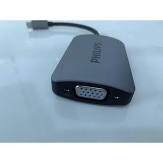 Cáp Type C -> HDMI + VGA Philips DLK 5512C/94 , cáp chuyển máy tính Type C sang màn hình/tv/ máy chiếu HDMi và Vga