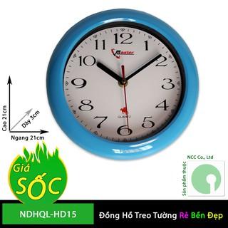 Đồng hồ treo tường NDHQL-HD15 mặt tròn nền trắng giá rẻ kim giật