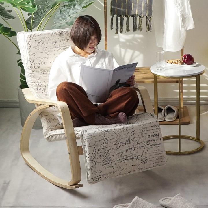 Ghế thư giãn Poang, ghế Poang có đôn, khung gỗ bạch dương và nhựa nhiệt dẻo an toàn, nệm mút dày êm ái M006-1