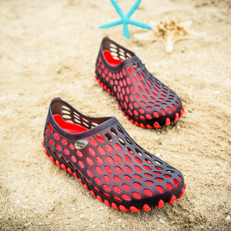 Giày lỗ nam mùa hè không trơn trượt đế mềm cỡ lớn Sinh viên Baotou giản dị đế dày đế bằng dép đi trong nhà