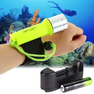 Set đèn pin LED đeo cổ tay 2500LM CREE T6 chuyên dùng cho thợ lặn thumbnail