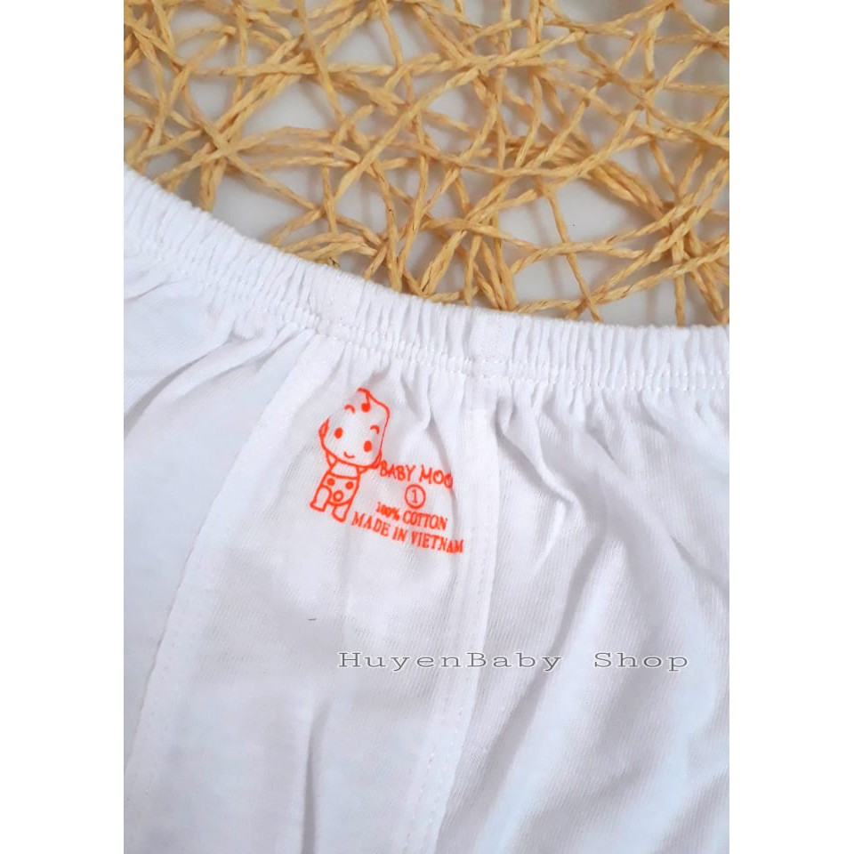 Quần ngắn sơ sinh. Quần đùi mặc bỉm màu trắng Baby Moon cho bé từ sơ sinh đến 9kg