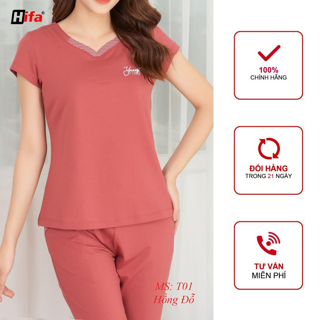 Đồ bộ nữ mặc nhà, set bộ cotton phối cổ tim cách điệu HIFA Hoàng Hiền- T01