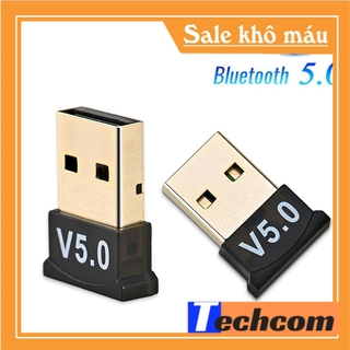 USB Bluetooth 5.0 CSR cho máy tính laptop tạo kết nối không dây LOẠI TỐT bắt sóng cực khỏe mét tặng đĩa cài