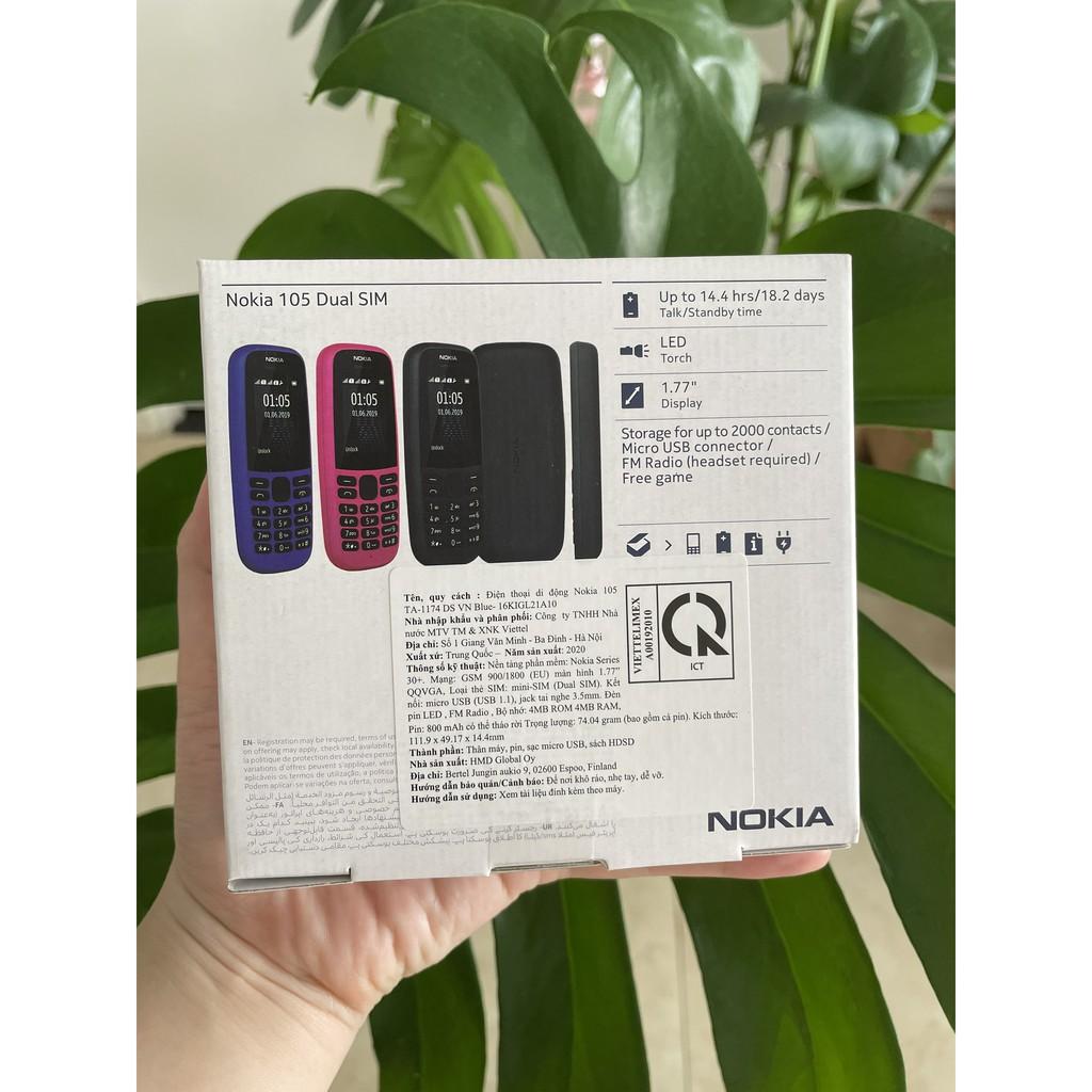 Điện thoại Nokia 105 (2019) 2 Sim, sóng khỏe, kiểu dáng gọn nhẹ, giải trí với đài radio FM,Bảo hành chính hãng 12 tháng