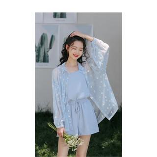 Set bộ quần áo 2 dây mix áo von hoa cúc trắng thumbnail