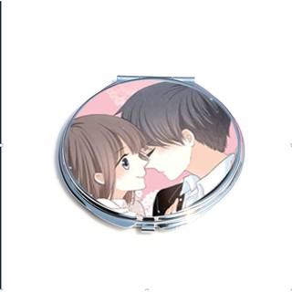 Gương hai mặt in hình CON TIM RUNG ĐỘNG anime chibi bỏ túi tiện lợi độc đáo