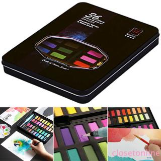 COD Watercolour Paint Set With Brush Water Painting Pen Art Artist Kit Tin 36 Colors CL