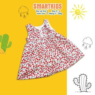 Váy cho bé gái - Đầm trẻ em sát nách hình quả cherry đỏ Smartkids S320