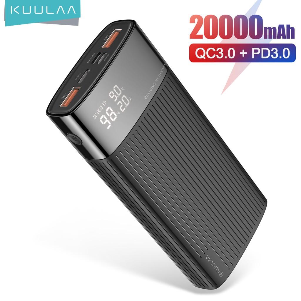 Sạc Dự Phòng KUULAA 20000mAh USB 3.0 Sạc Nhanh Cho Iphone Huawei