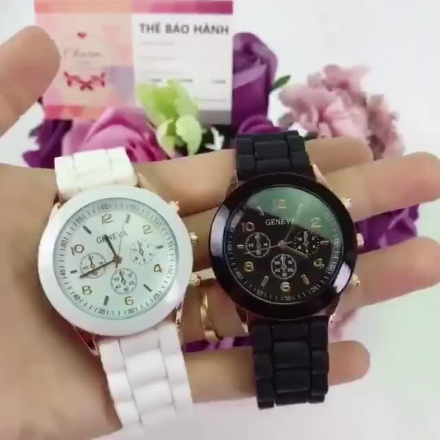 Đồng hồ nam nữ GENEVA mặt tròn dây cao su