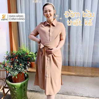 Váy bầu thiết kế 2MAMA thiết kế dáng suông sơmi thắt nơ ngang hông mùa hè V57 thumbnail