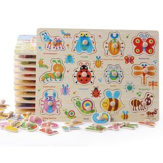 Đồ chơi gỗ bảng gỗ con vật, xe cộ, hình khối, màu sắc