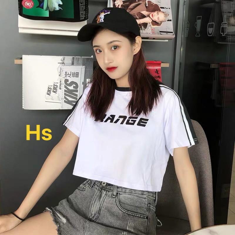 Áo Croptop áo thun bozip Viền Cổ Dễ Thương RANGE Hot Trend in 3d