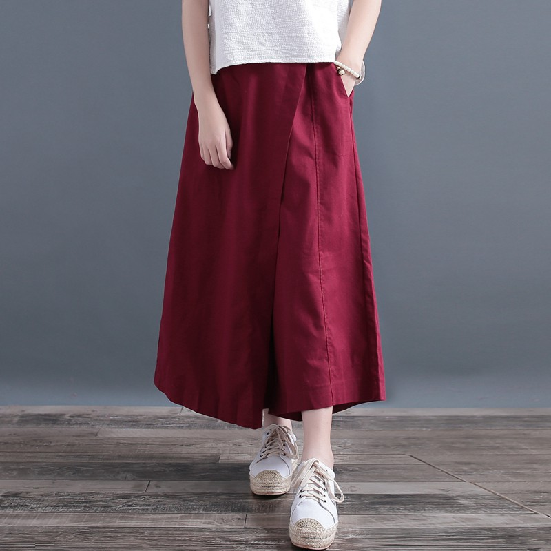 Qing Yi irregular cotton wide leg pants nine pants women autumn loose linen skir