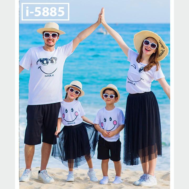 Áo Thun Đồng Phục Gia Đình Màu Trắng In Hình SMILE ATN5885