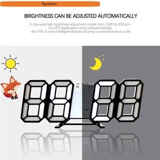 FAY USB charging 3D Digital clock Smart 3 Automatic Brightness Adjustment Desktop or Wall-mounted Alarm Clock Temperature Modern Night Light LED Date Bedrooms/Multicolor