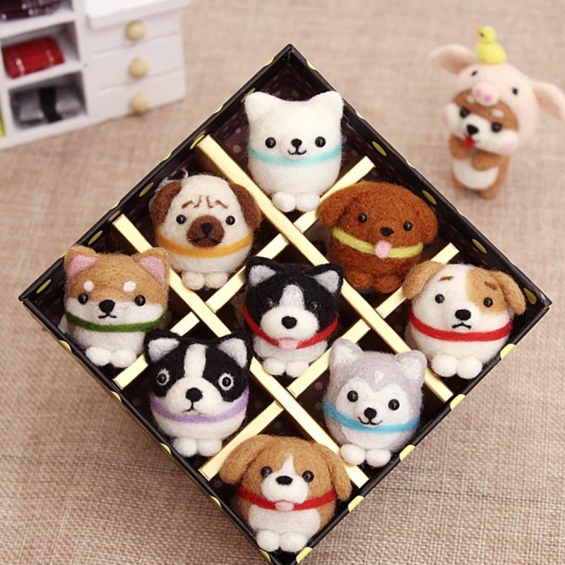 🌿Combo hộp kit len chọc cún chibi đáng yêu thủ công tự làm nguyên liệu đầy đủ quà tặng trang trí Lenmade
