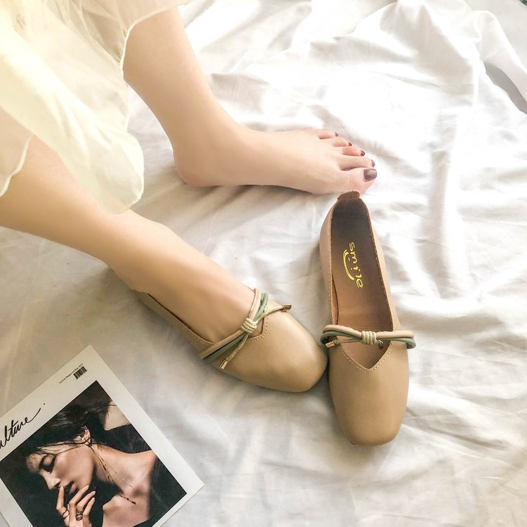 Giày Búp Bê Đế Bằng Miệng Nông Kiểu Retro Dễ Thương Cho Nữ