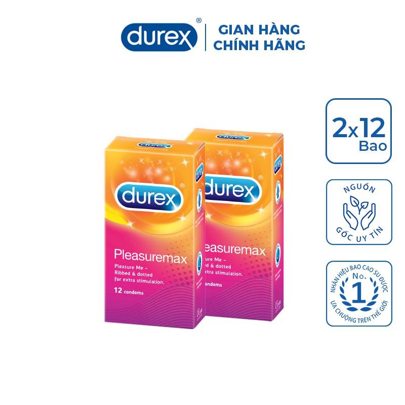 Bộ 2 hộp bao cao su Durex Pleasuremax 12 cái/hộp