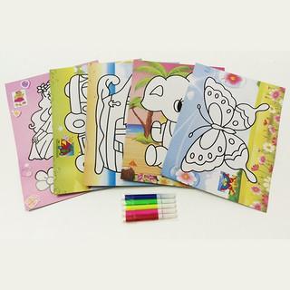 Tập 5 mẫu tranh tô màu cho bé 25,5x 18,5 Cm