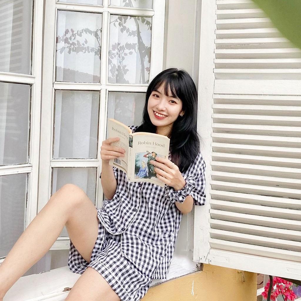 Mặc gì đẹp: Ngủ ngon với Bộ đồ ngủ pizama Kẻ Caro tay ngắn nhiều màu chất Kate thái dễ thương giá rẻ