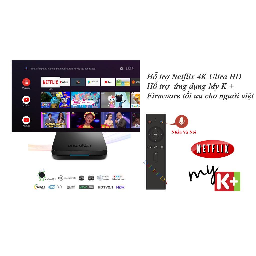 [ELPSJULY hoàn đến 100k xu đơn từ 500k]Mecool KM9 Chip S905X2 RAM 4GB ROM  32GB - Android TV OS - Bluetooth Remote Voice