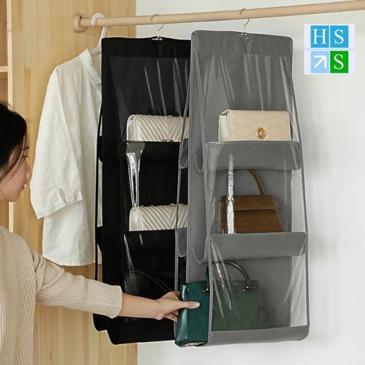Túi treo đựng bảo quản giỏ sách, túi sách, bóp ví ( 6 ngăn, 3 tầng) Túi treo đựng đồ chống bụi, có móc treo xoay 360