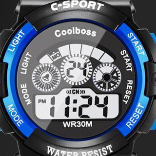 Đồng hồ đeo tay kỹ thuật số dây silicone chống nước & sốc có đèn LED cho trẻ em
